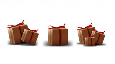 A collection of cardboard gift boxes with red ribbon isolated on a white background for your creativity icon