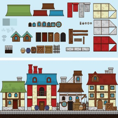 Vector flat illustration and sprite for game. Old houses