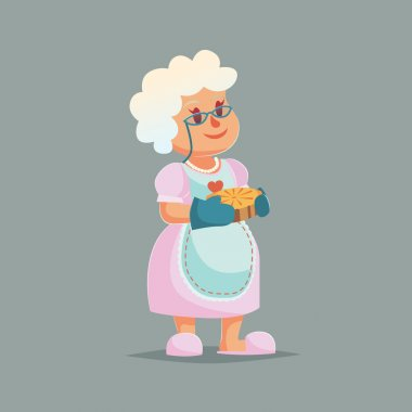 Cute Granny in glasses holding pie. Funny cartoon vector illustration