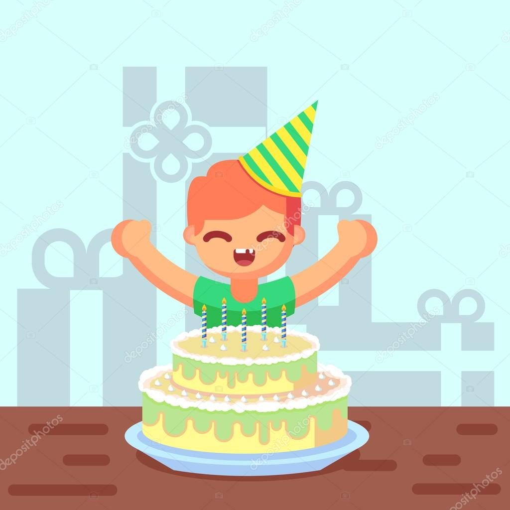 Ni o feliz de dibujos animados lindo dulce con torta de - Feliz cumpleanos infantil animado ...