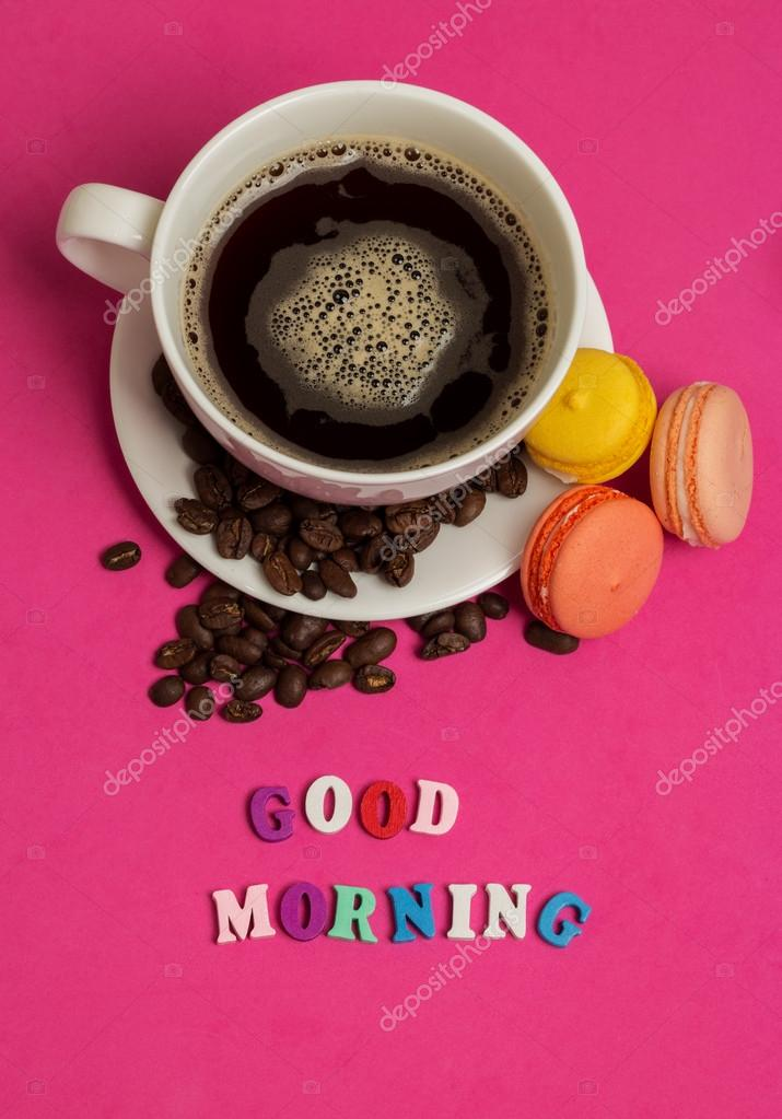 Tag Bonjour Tasse De Café Avec Macarons Photographie