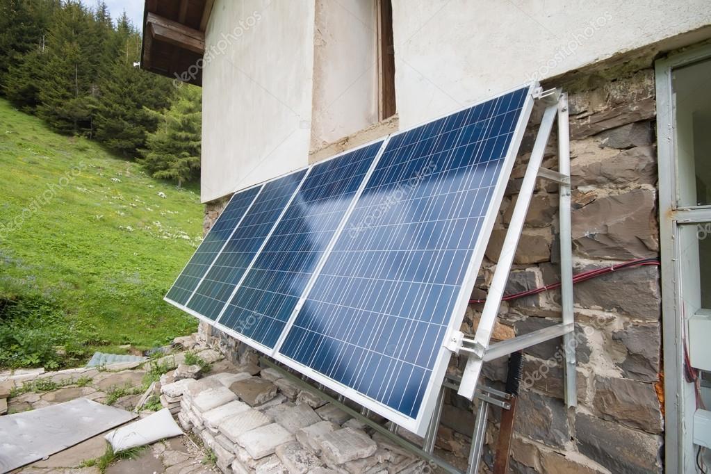 Solar panels on apline hut
