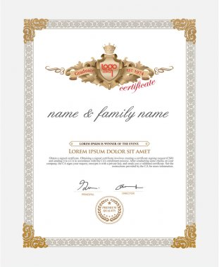 Certificate Design Template. Retro template clip art vector