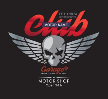 Motor skull garage and service shop