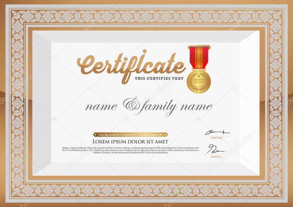 Gold-Zertifikat der Abschluss-Vorlage. thailändische Kunstelement ...