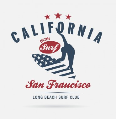 California surf typography, t-shirt graphics, logo club