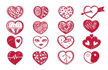 Sketch heart set and valentine's day. stock vector