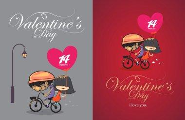 Cartoon design valentines day vintage design. stock vector