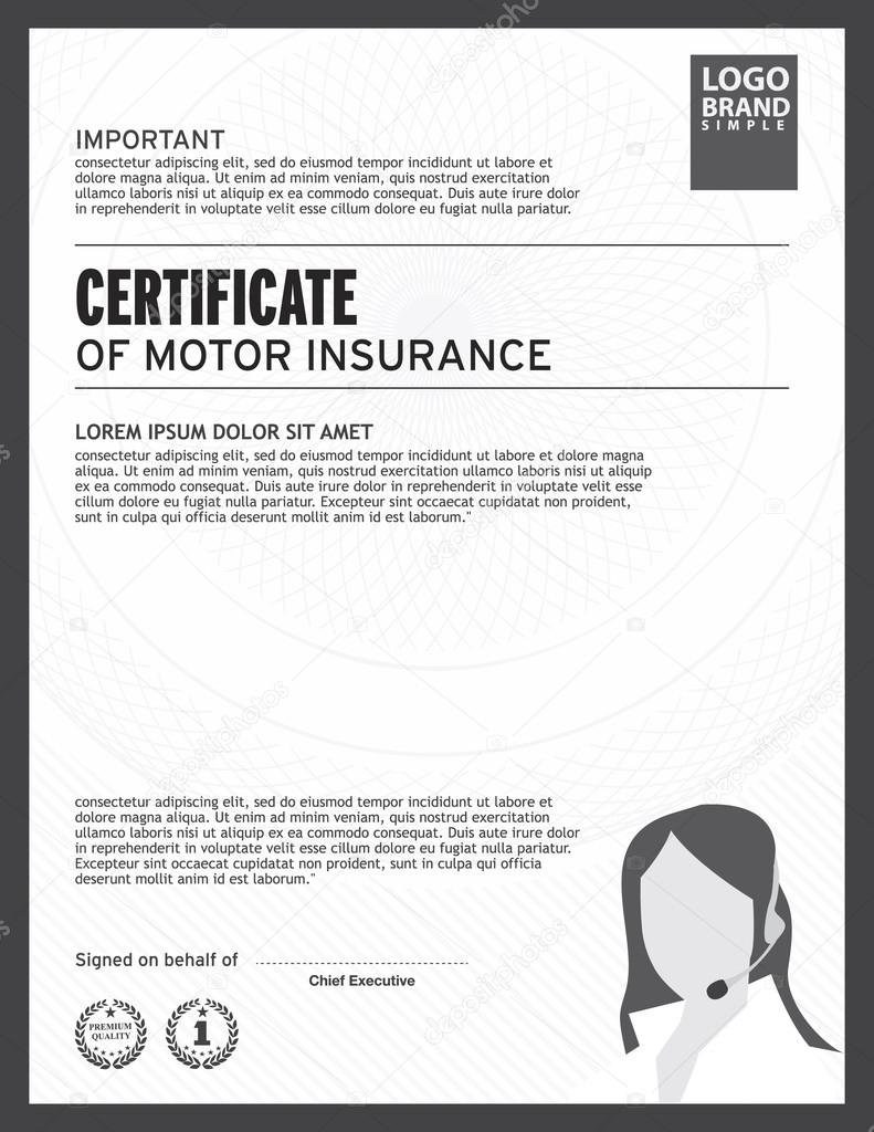 Certificate Of Motor Insurance Template. U2014 Vector By PhaisarnWong