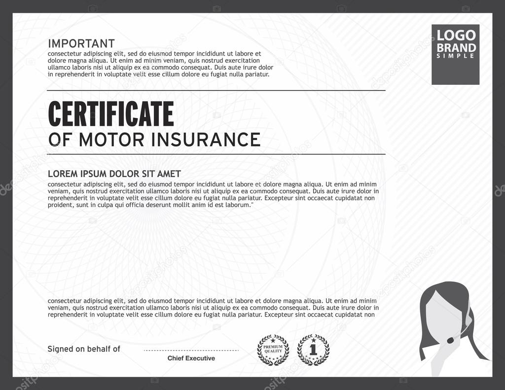 Certificate Of Motor Insurance Template Stock Vector