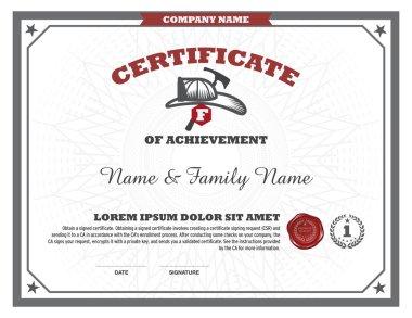 Certificate fire man design template