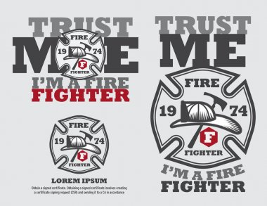 Fire Fighter Logo Design Vector Template And Typrograpic Design