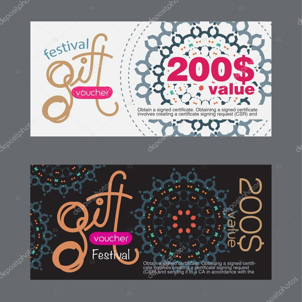 Voucher template with festival pattern. vector — Stock Vector ...