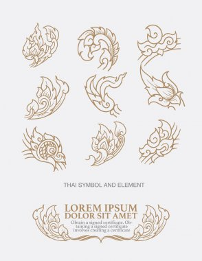 vector set: thai art  design elements and page decoration - lots