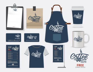 Vector coffee cafe restaurant set, T-Shirt, menu, namecard and f