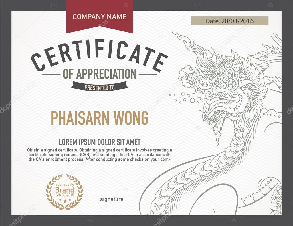 Modern Thai Art Certificate Design Template Stock Vector