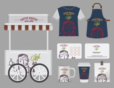 Vector coffee booths set, T-Shirt, name card and free symbol des