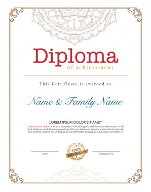 Vector illustration of gold detailed diploma.