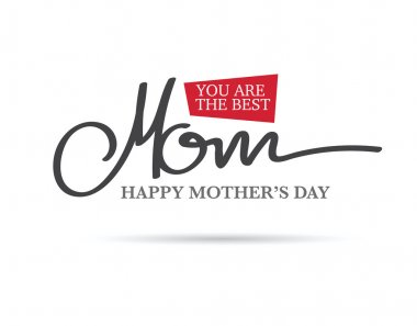 Hand dawn happy mothers Day.  minimal layout clip art vector