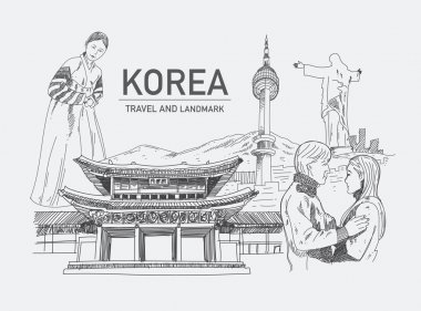 Landmarks in korea, hand drawn, sketch vector
