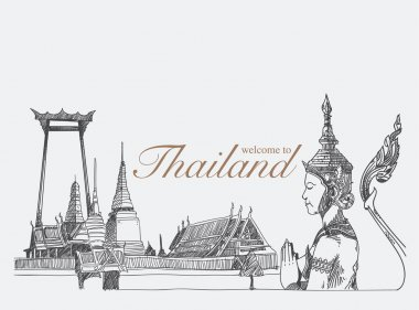 Landmarks in thailand, hand drawn, sketch vector