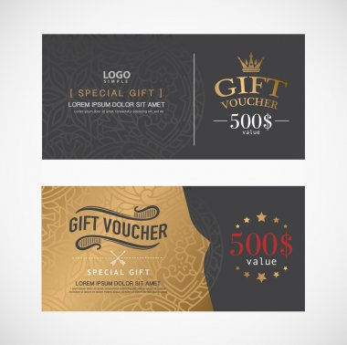 Voucher template with premium modern design template. vector