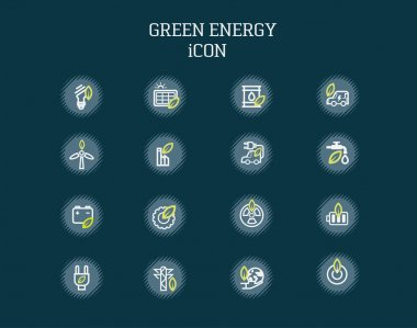 Green energy icons on background.