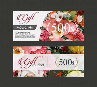 voucher template flowers on paper in the form of watercolor tech