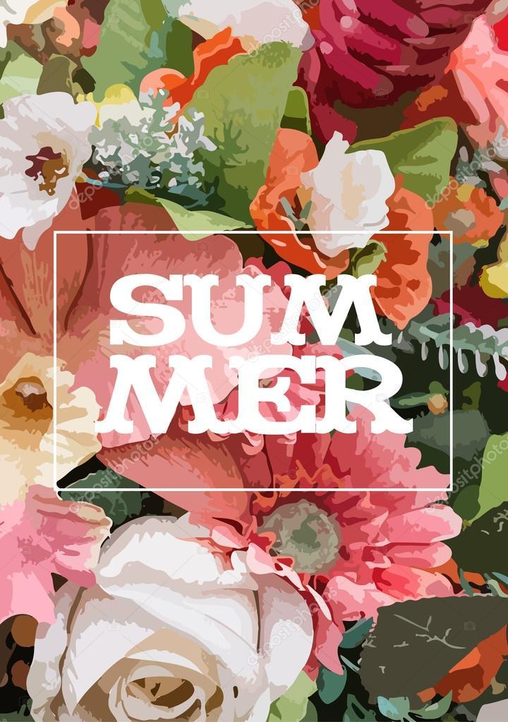 flores del verano poster en papel en forma de técnicas de acuarela ...