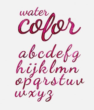 Hand drawn calligraphic font water color.