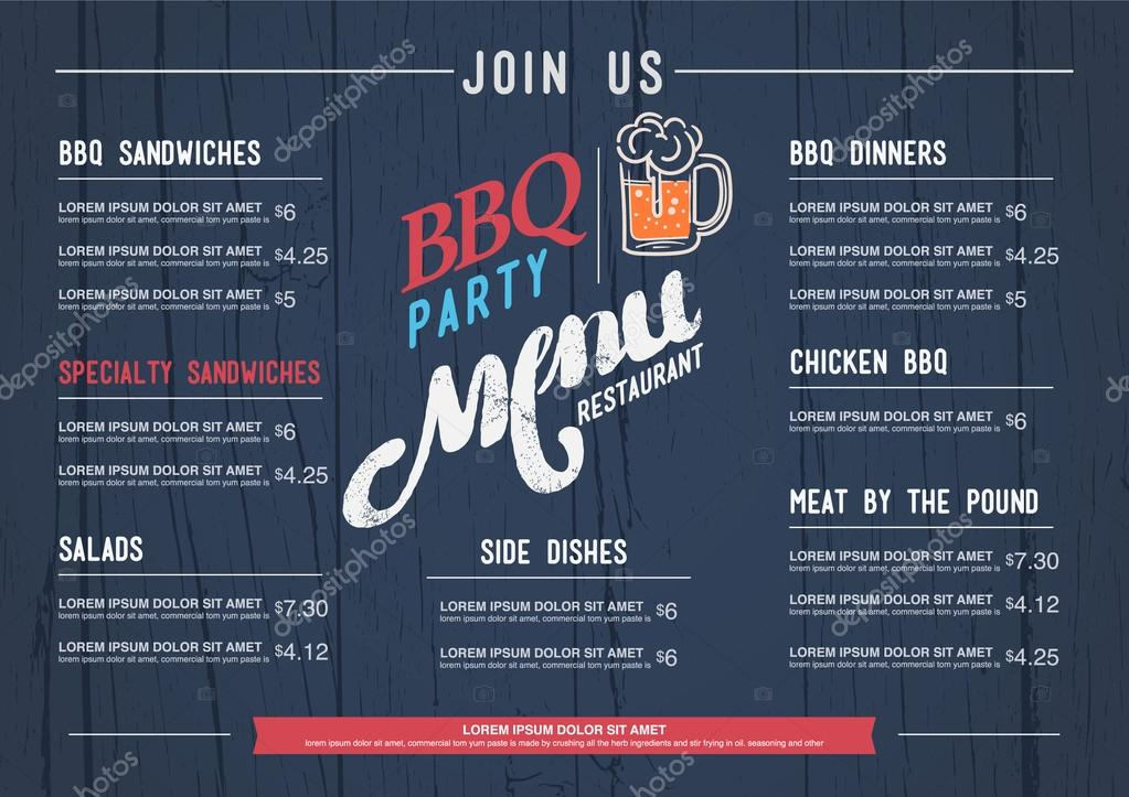 BBQ menu restaurant template and wood texture background — Stock ...