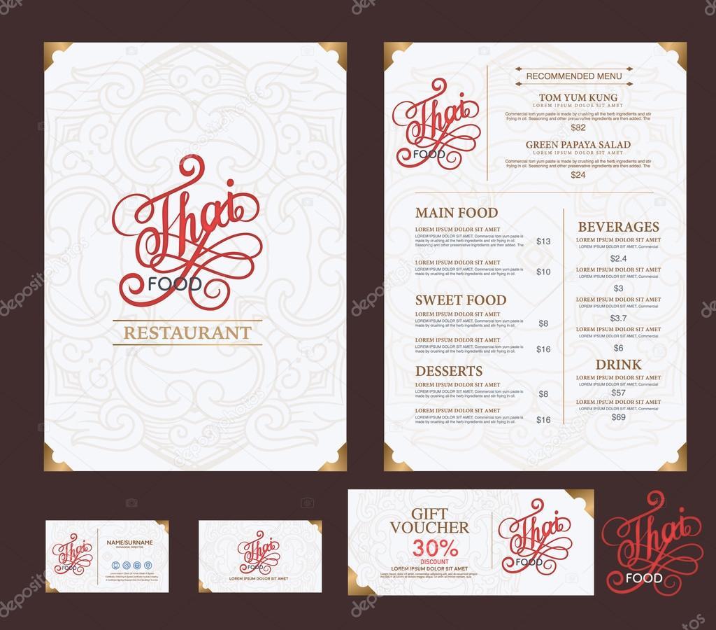 vector thai food restaurant menu template