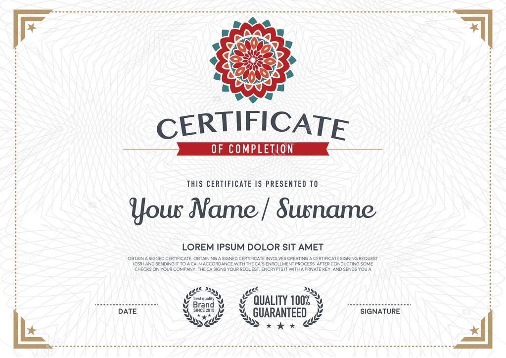 Vector Certificate Template Stock Vector Phaisarnwong 87312694