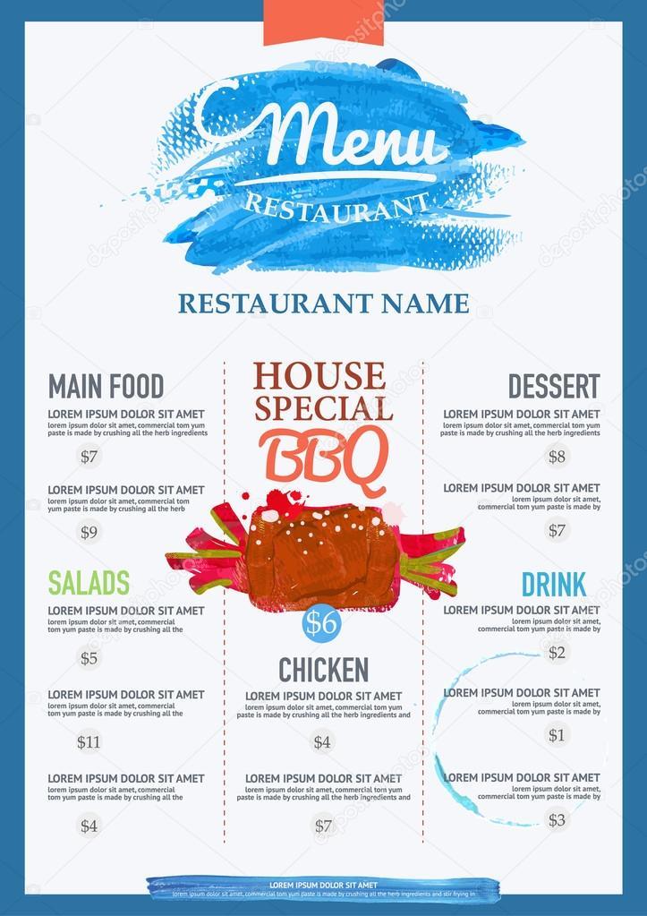 Aquarell-Menü Restaurant-Broschüre — Stockvektor © PhaisarnWong ...