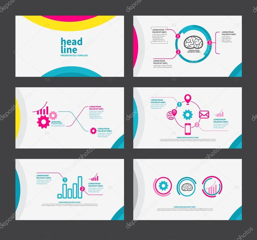 presentation template flat design — stock vector © phaisarnwong, Presentation templates