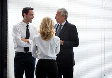 Half length portrait of three businesspeople standing up and speaking