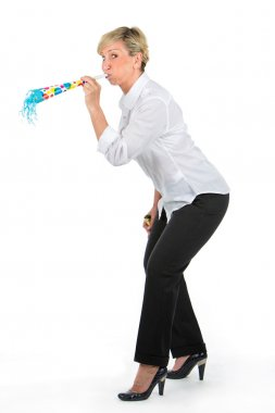 Manager woman blowing through a trumpet