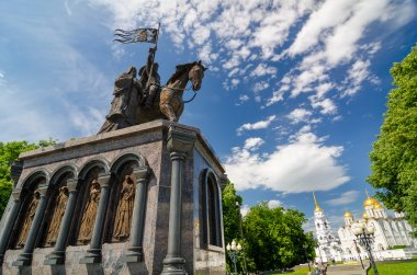 Monument of Prince Vladimir against Assumption cathedral.