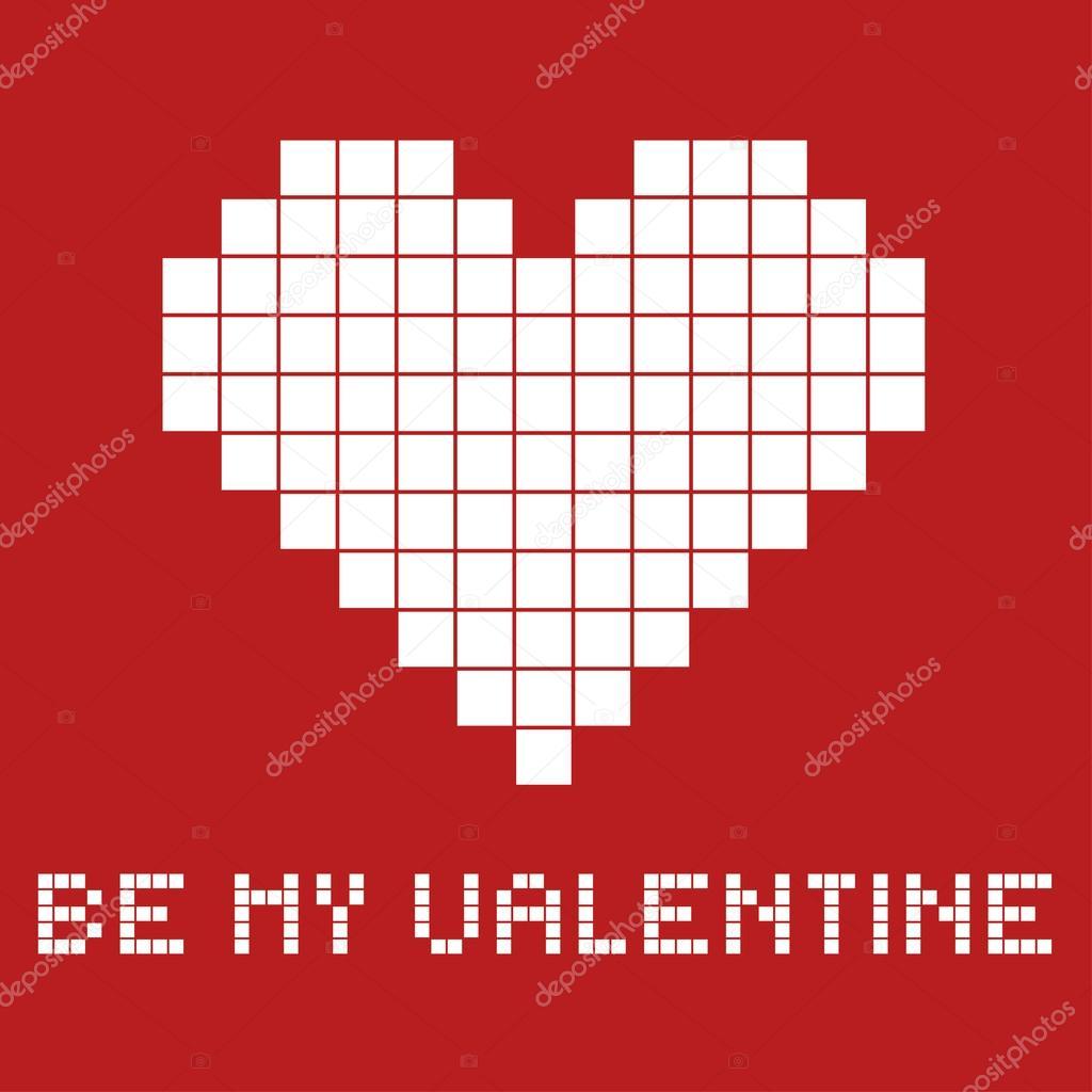 Carte Cadeau Pour Une Saint Valentin En Style De Pixel Art