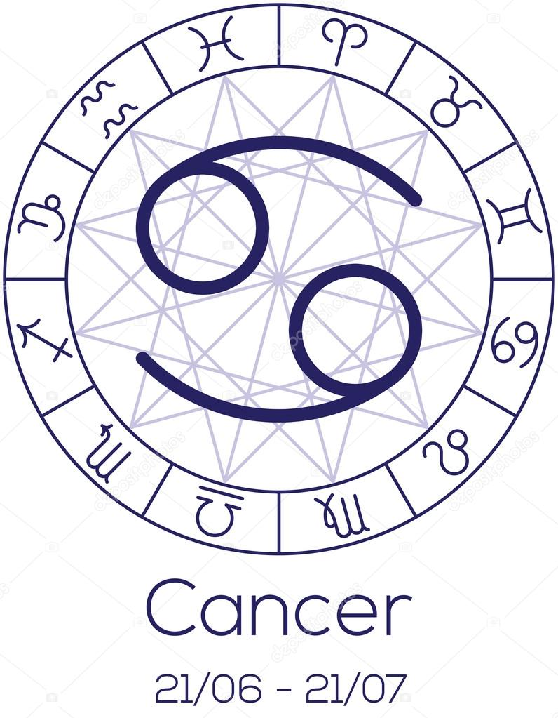 Zodiac sign cancer astrological symbol in wheel stock vector zodiac sign cancer astrological symbol in wheel with polygonal background astrology chart in deep blue color with caption and date of birth biocorpaavc Gallery