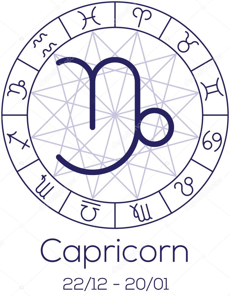 Zodiac sign capricorn astrological symbol in wheel stock astrological symbol in wheel with polygonal background astrology chart in deep blue color with caption and date of birth vector illustration nvjuhfo Gallery