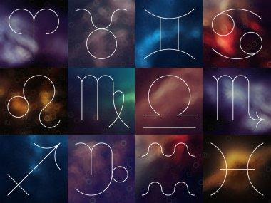 Zodiac signs. White thin simple line astrological symbols on blurry colorful abstract background. Aries, Taurus, Gemini, Cancer, Leo, Virgo, Libra, Scorpio, Sagittarius, Capricorn, Aquarius, Pisces.