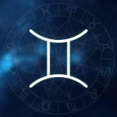 Sternzeichen - Gemini. weiße dünne einfache Linie astrologisches Symbol auf verschwommenem abstrakten Weltraum Hintergrund mit Astrologie-Diagramm.