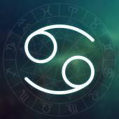 Sternzeichen - Krebs. weiße dünne einfache Linie astrologisches Symbol auf verschwommenem abstrakten Weltraum Hintergrund mit Astrologie-Diagramm.