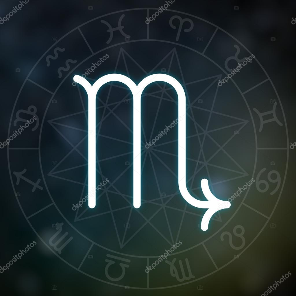 Zodiac sign - Scorpio  White thin simple line astrological