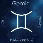 Sternzeichen - Gemini. weiße Linie astrologisches Symbol mit Bildunterschrift, Daten, Planet und Element auf verschwommenem abstrakten Hintergrund mit Astrologie-Diagramm.