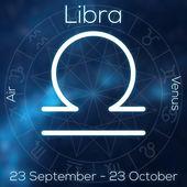 Fotografie Sternzeichen - Waage. Weiße Linie astrologisches Symbol mit Beschriftung, Datum, Planet und Element auf verschwommenen abstrakten Hintergrund mit Astrologie-Diagramm.