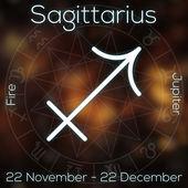 Fotografie Sternzeichen - Schütze. Weiße Linie astrologisches Symbol mit Beschriftung, Datum, Planet und Element auf verschwommenen abstrakten Hintergrund mit Astrologie-Diagramm.