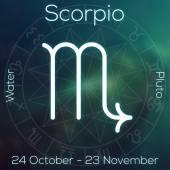 Fotografie Sternzeichen - Skorpion. Weiße Linie astrologisches Symbol mit Beschriftung, Datum, Planet und Element auf verschwommenen abstrakten Hintergrund mit Astrologie-Diagramm.