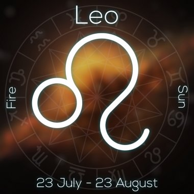 Zodiac sign - Leo. White line astrological symbol with caption, dates, planet and element on blurry abstract background with astrology chart.